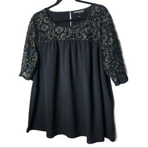 Lane Bryant Black and Lace Blouse